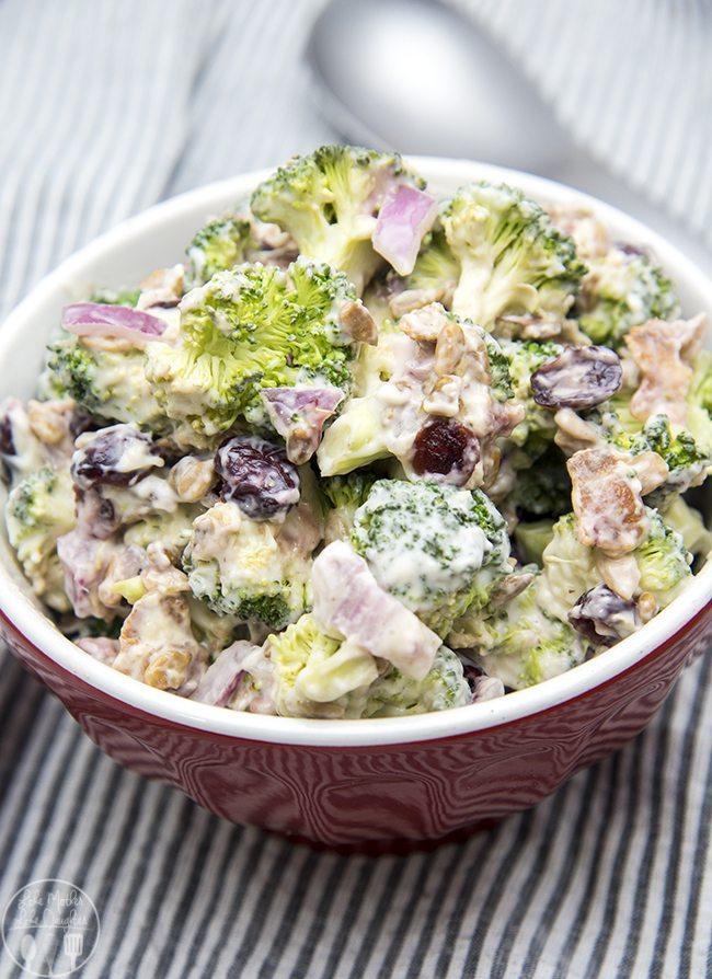 Creamy Broccoli Salad - This delicious broccoli salad is full of red onion, bacon, sunflower seeds, and dried cranberries. Its coated in a creamy and tangy sauce, perfect for an easy side dish!