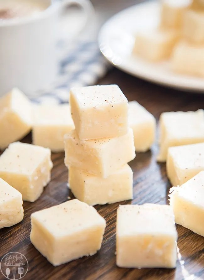 Smooth and creamy white chocolate egg nog fudge has the great taste of your favorite holiday beverage. Its the perfect holiday candy that everyone loves!