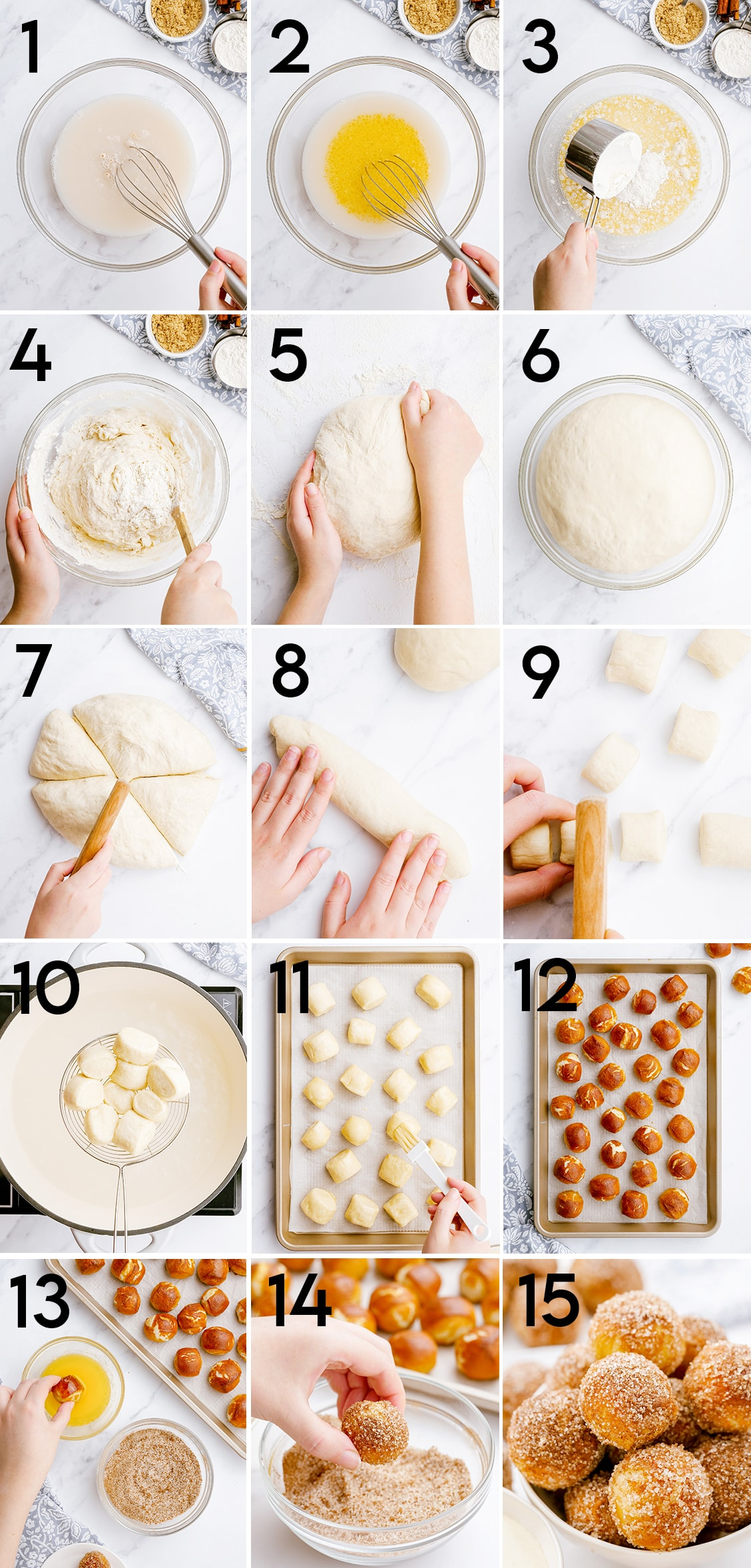 A collage of 15 step by step photos showing how to make cinnamon sugar soft pretzel bites. They are numbered to go along with the steps in the blog text.