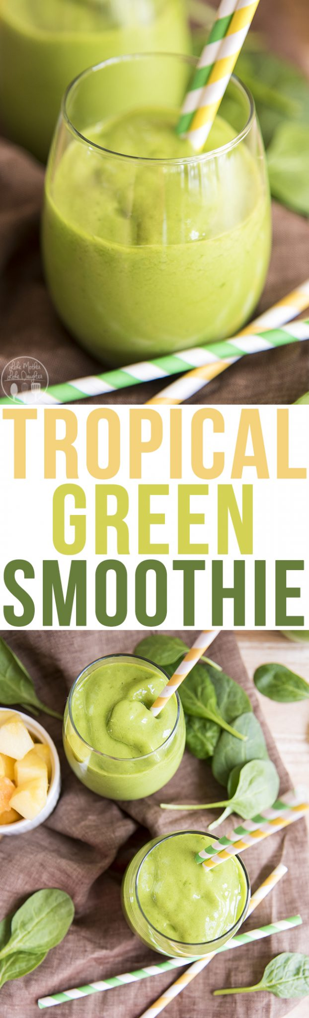 Tropical Green Smoothie - This tropical green smoothie is packed full of mango, pineapple, banana, vanilla yogurt, orange juice and of course spinach for a beautiful green smoothie that is also delicious! Great for a light breakfast, lunch or snack!
