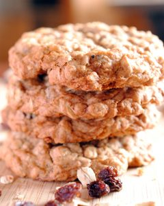 Soft and chewy, plump full of raisins and old fashioned oats, flavored with vanilla and cinnamon for your favorite basic oatmeal raisin cookie.