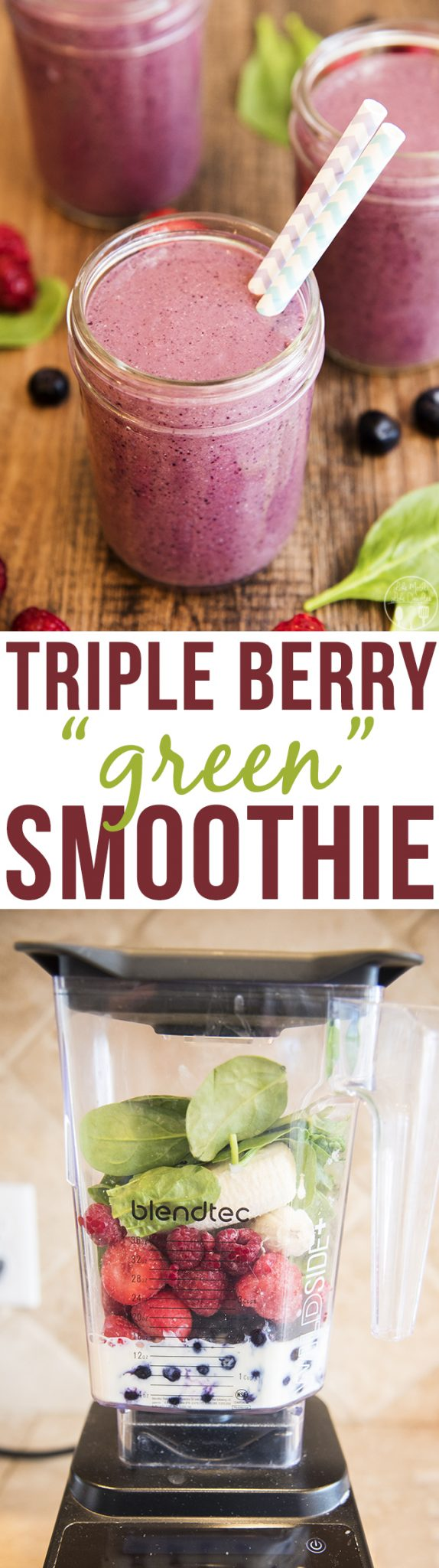 Triple Berry Green Smoothie - This smoothie is packed full of three kinds of berries, soy milk and yogurt, banana and spinach for a smoothie that is full of antioxidants, protein, fiber, and more! Perfect for a burst of energy!