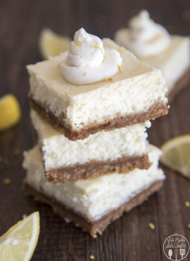 Lemon Cheesecake Bars - These cheesecake bars are perfectly tangy and sweet with a buttery graham cracker crust. They're perfect for a spring or summer time dessert!