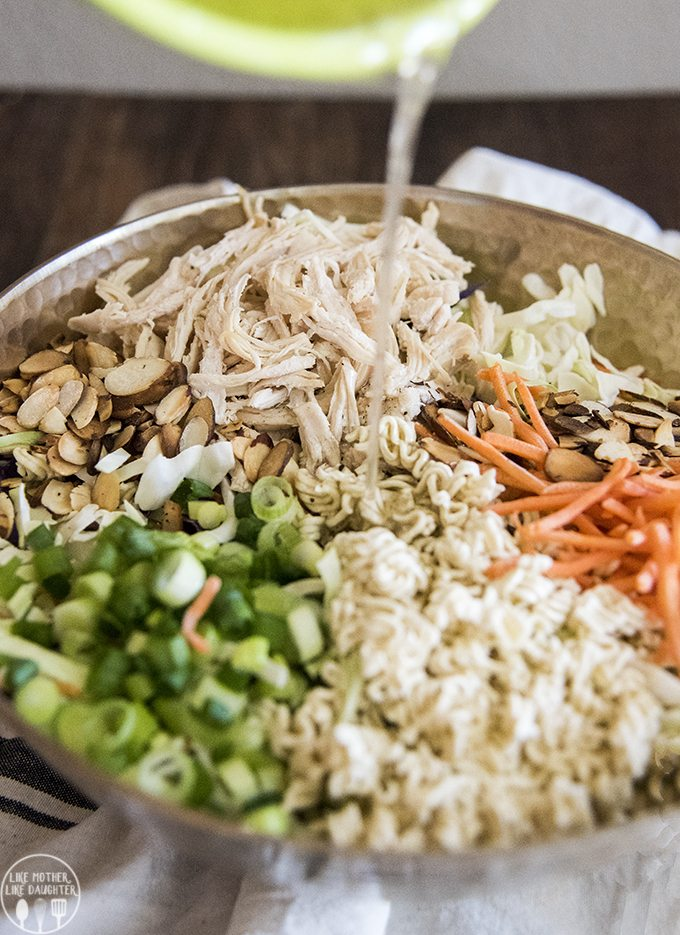 Ramen noodle salad is quick and easy to make. The crunchy salad is covered in a flavorful dressing and is perfect served at a picnic, potluck, or barbecue!