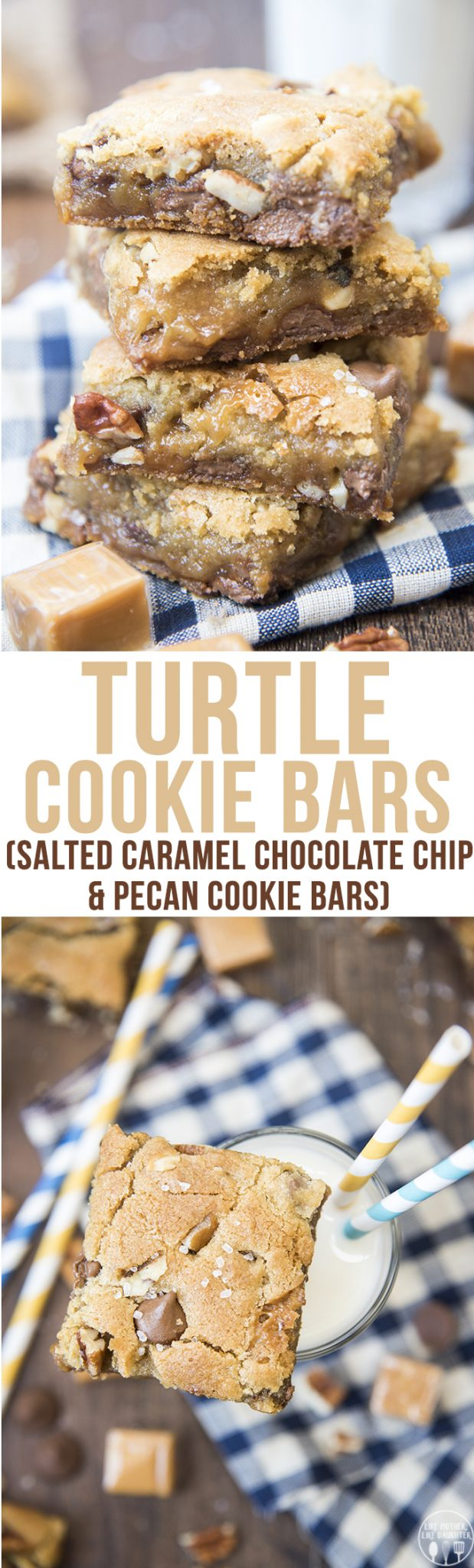 Turtle Cookie Bars - These cookie bars havetwolayers of chocolate chip pecan filled cookie, full of gooey caramel in the middle. Everyone will love these!