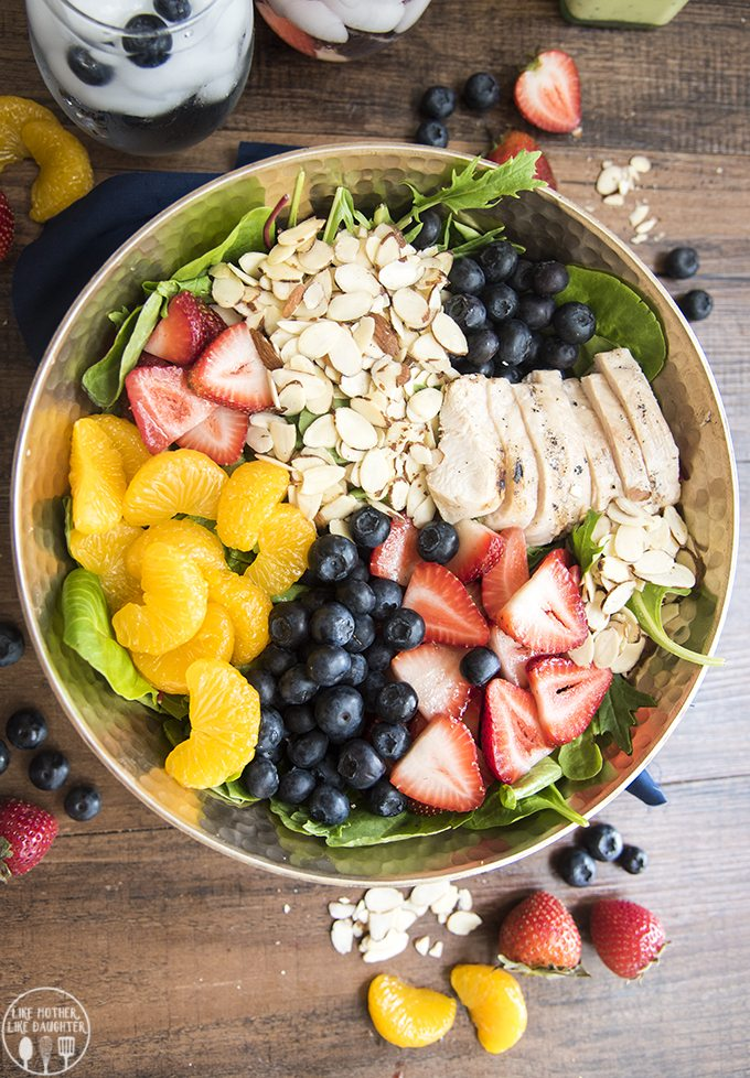 Chicken, Berry, and Almond Salad - This salad is full of so much goodness. Perfect for a refreshing salad all summer long!