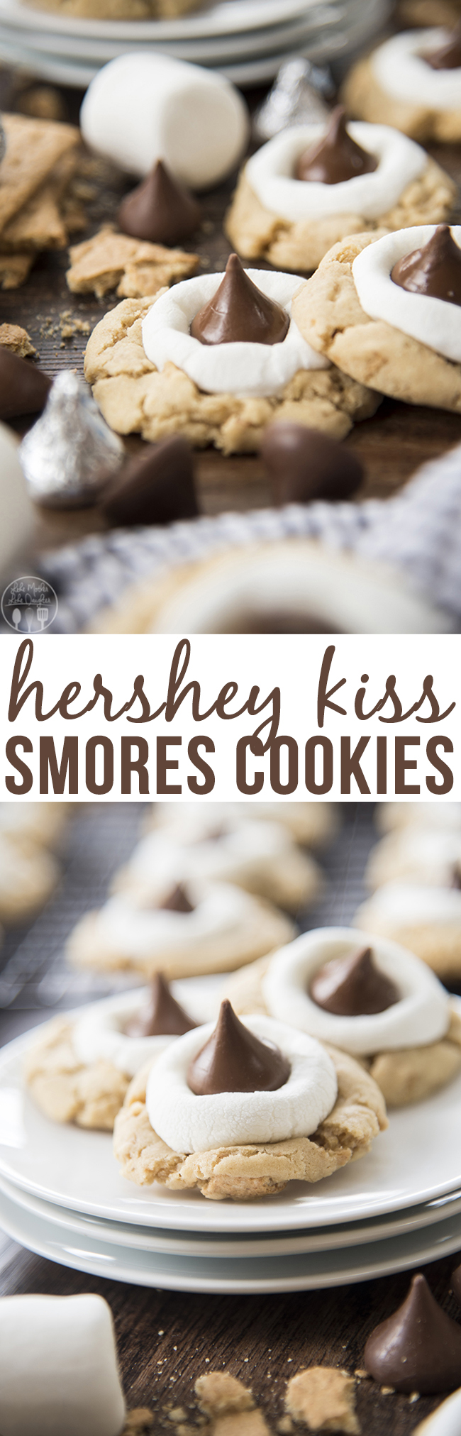 Hershey Kiss S'mores Cookies - These s'mores cookies start with a graham cracker filled cookie base, topped with a gooey marshmallow, and a chocolate kiss - for your favorite s'mores flavors in a delicious and cute cookie!