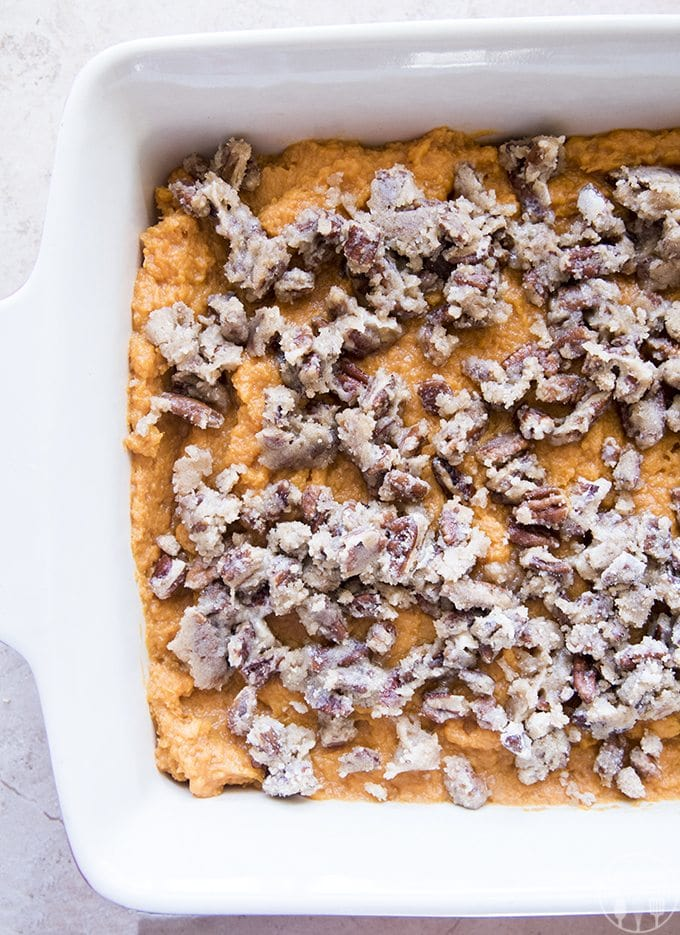 This sweet potato casserole with marshmallows also has a crunchy layer of brown sugared pecans for sweet potato perfection!
