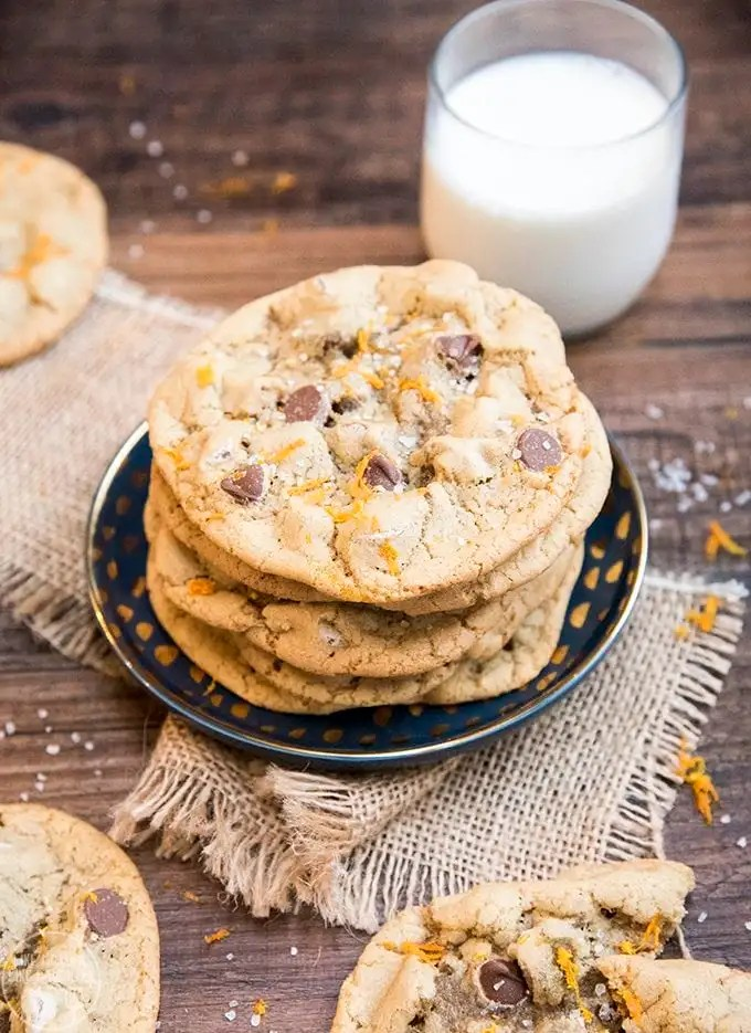 Orange chocolate chip cookies, are amazing chewy chocolate chip cookies topped with just a little orange zest at the end for the perfect citrus flavor burst.