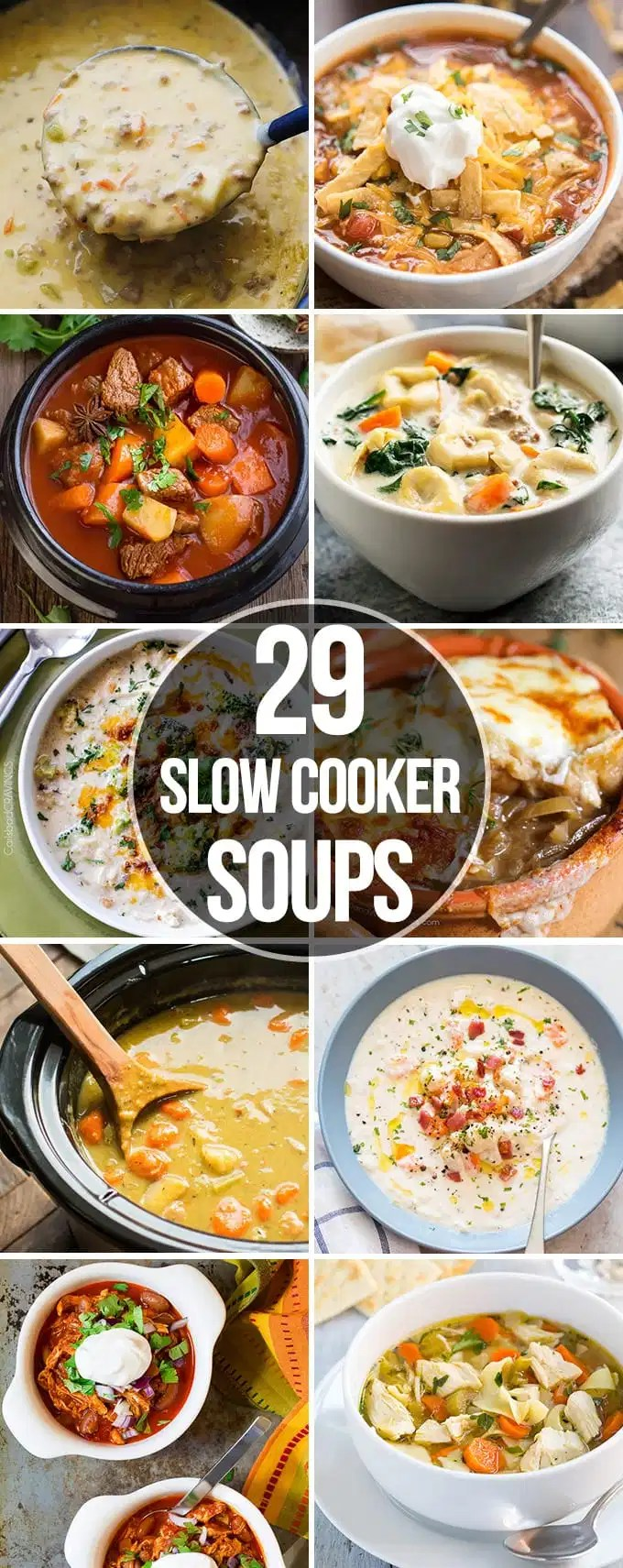 Twenty Nine Slow Cooker Soups that are perfect for an easy comforting meal. They are ready with out a lot of prep work and are so great for a cold day!