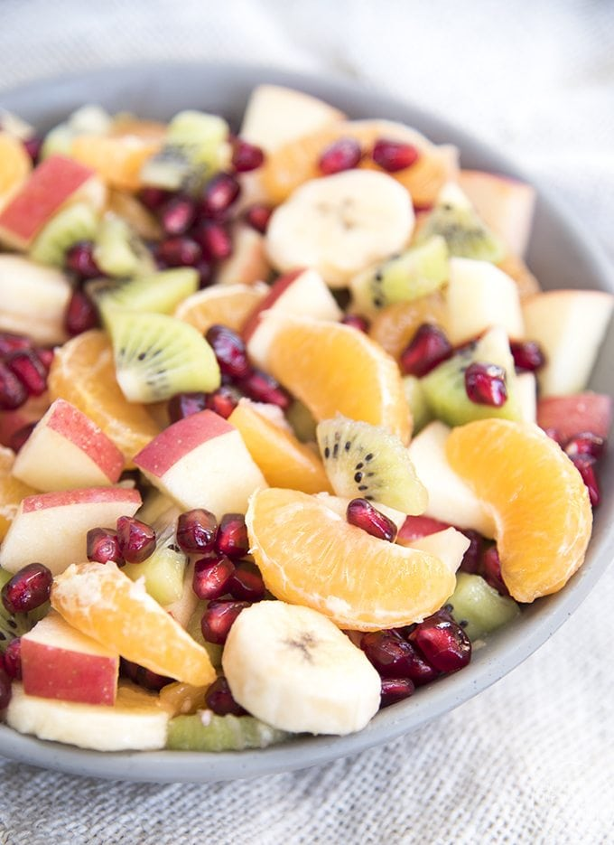 This simple fruit salad is loaded full of winter fruits, and is perfect for a holiday party or dinner side dish.