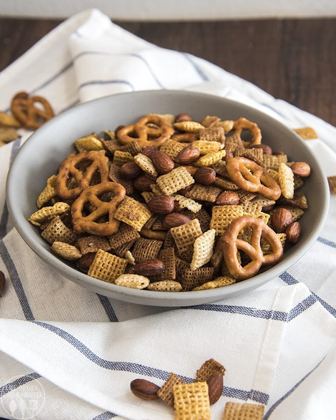 Almond chex party mix is an easy savory snack mix full of so much flavor! It tastes just like the real deal!