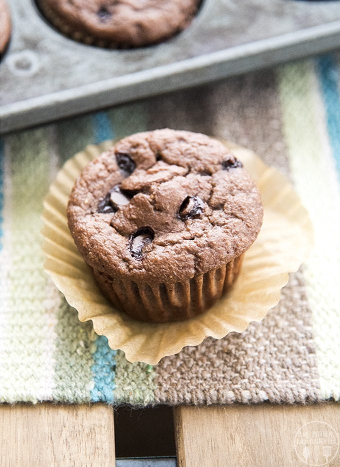 Chocolate banana chocolate chip muffins are made better for you in the blender with only a few ingredients, with no refined sugar, no white flour and no oil and are perfect for a delicious snack or breakfast!