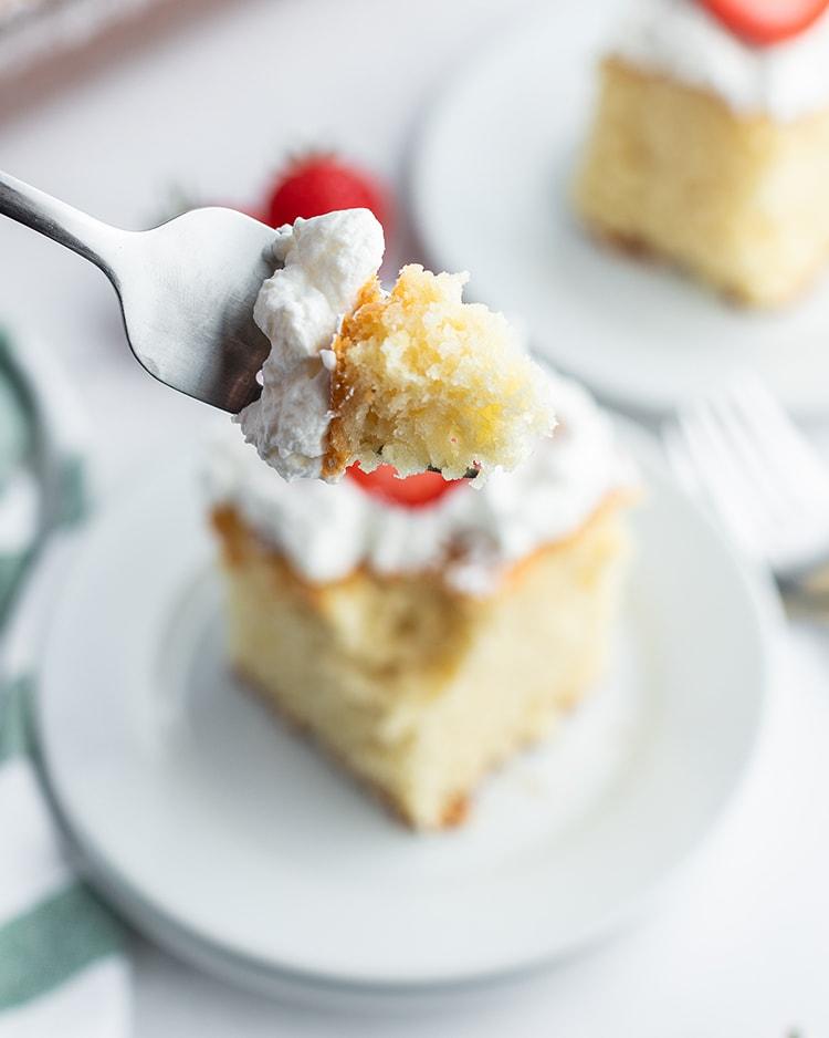 A bite of strawberry yogurt cake.