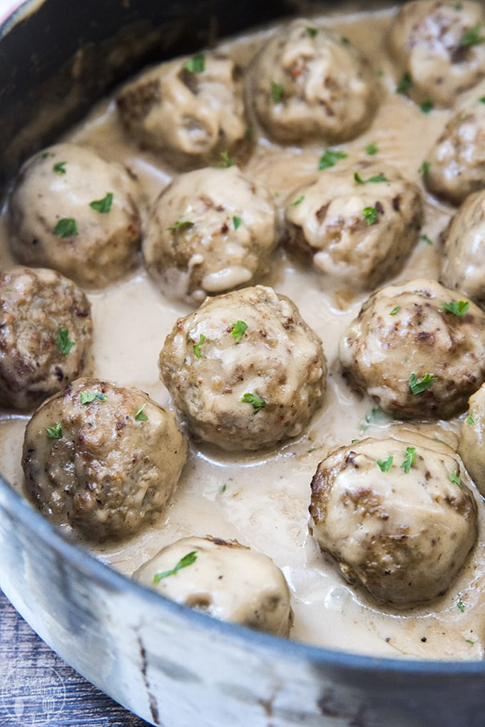 Swedish meatballs are covered in a rich and creamy sauce and ready in only about 15 minutes!