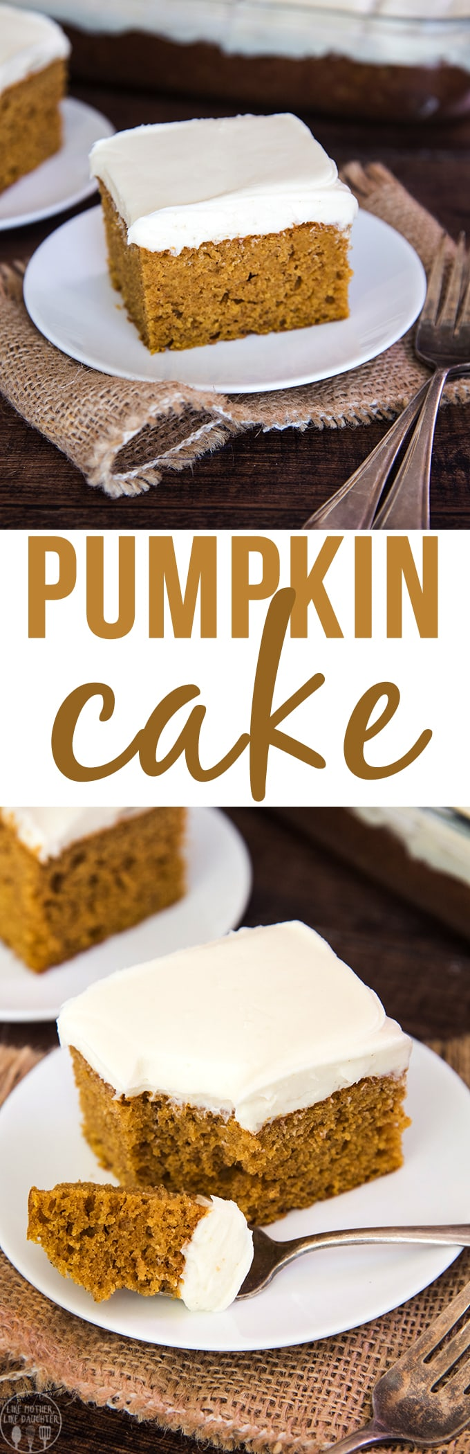 Pumpkin cake topped with the best cream cheese frosting is the perfect fall dessert, easy to make, super moist and loaded with delicious pumpkin flavor.