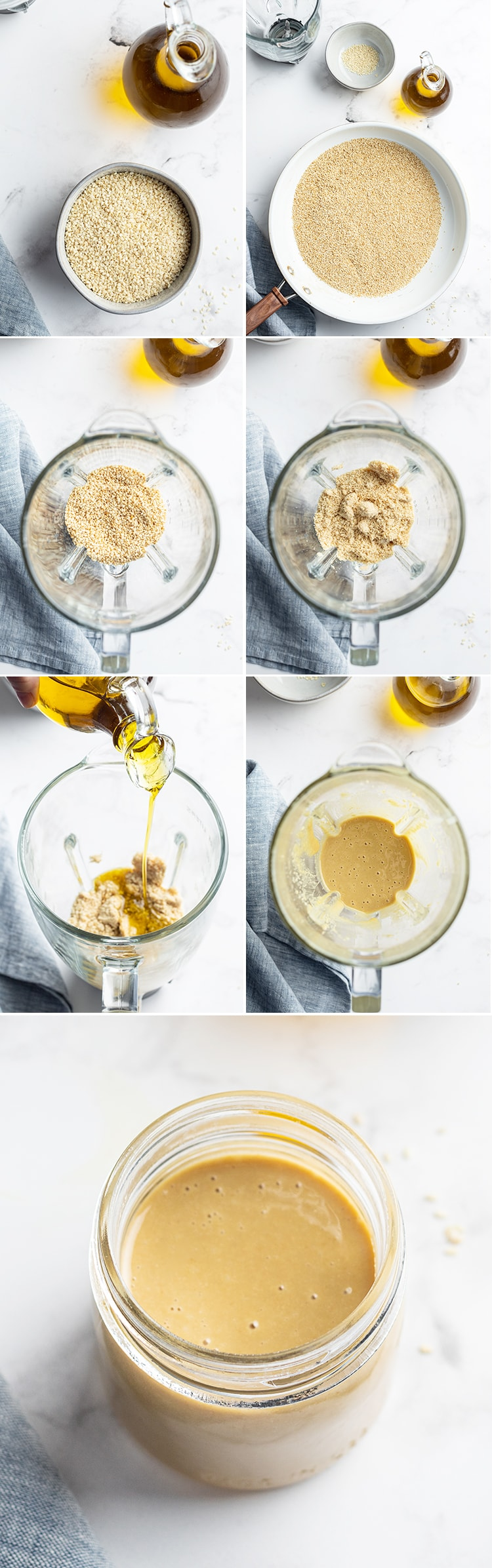 Step by step photos in a collage showing how to make homemade tahini. Showing the sesame seeds and oil, then the sesame seeds being toasted, then blended up in a jar, then adding the oil and the tahini is smooth in the blender. Then the final photo is the tahini in a jar.
