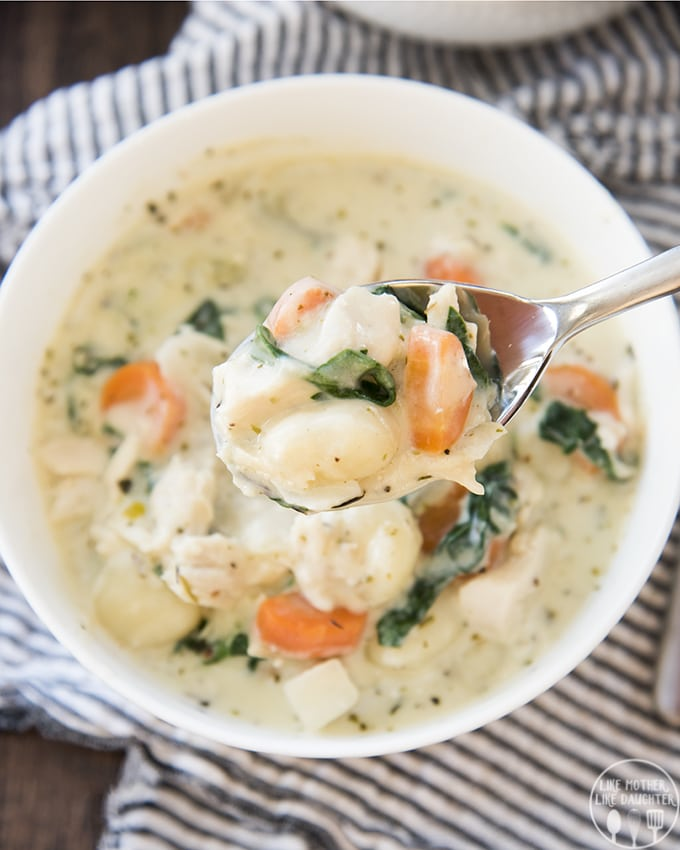 Creamy Chicken and Gnocchi Soup! Made in one pot in 30 minutes for a perfect lunch or dinner!