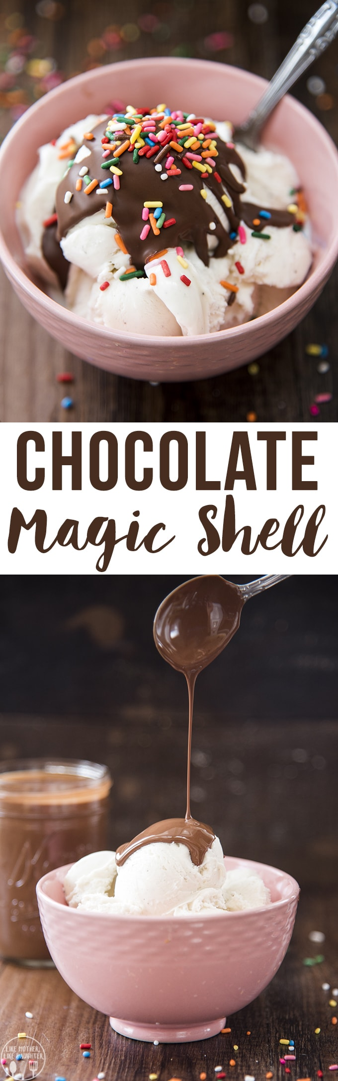 Homemade chocolate magic shells is only two ingredients and only takes a couple minutes to make. Its the best ice cream topping!