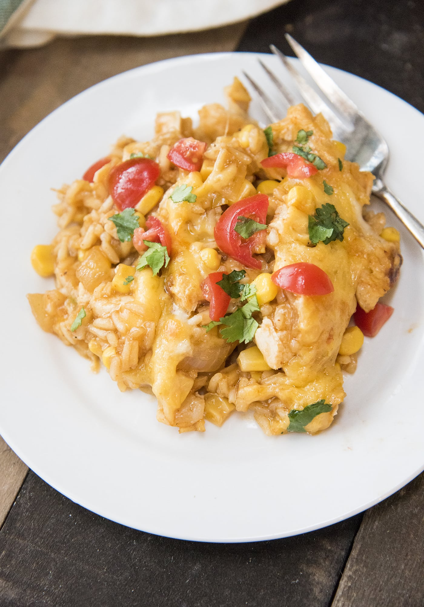 Enchilada Chicken and Rice Casserole made in just one pot!