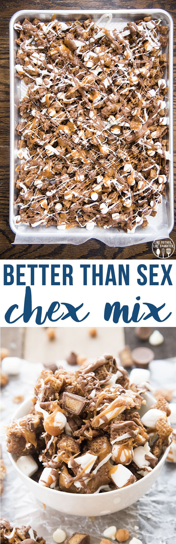 Better than Sex Chex mix is an amazing sweet chex mix, with chocolate chex, melted caramel, peanut butter cups, marshmallows, and lots of chocolate! Its irresistible!