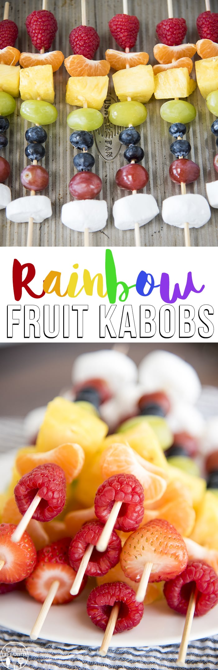 ainbow fruit kabobs are delicious and colorful healthy snack that adults and kids will love!