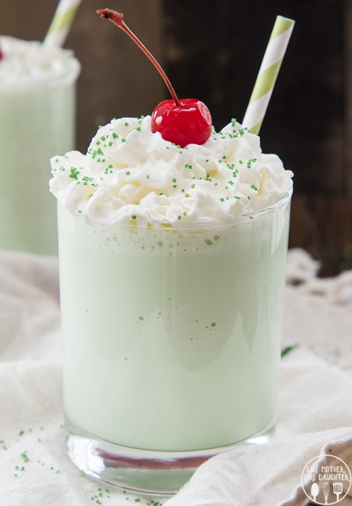 This Shamrock Shake is a delicious minty milkshake that is a homemade version of the fun Mcdonald's St. Patrick's Day milkshake!