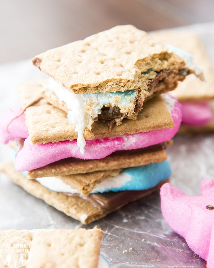 Blue and Pink Peeps S'mores