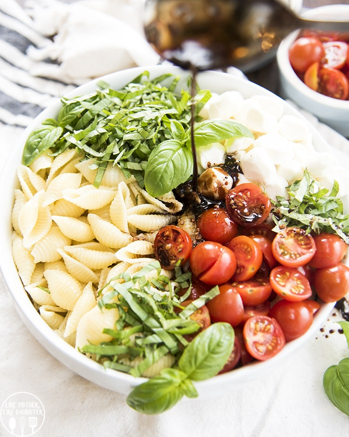 Basil, Tomato and Mozzarella with noodles topped with a balsamic dressing