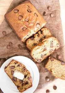 This is the BEST chocolate chip banana bread recipe. This sweet banana bread is perfectly moist and soft and stuffed full of chocolate chips throughout.