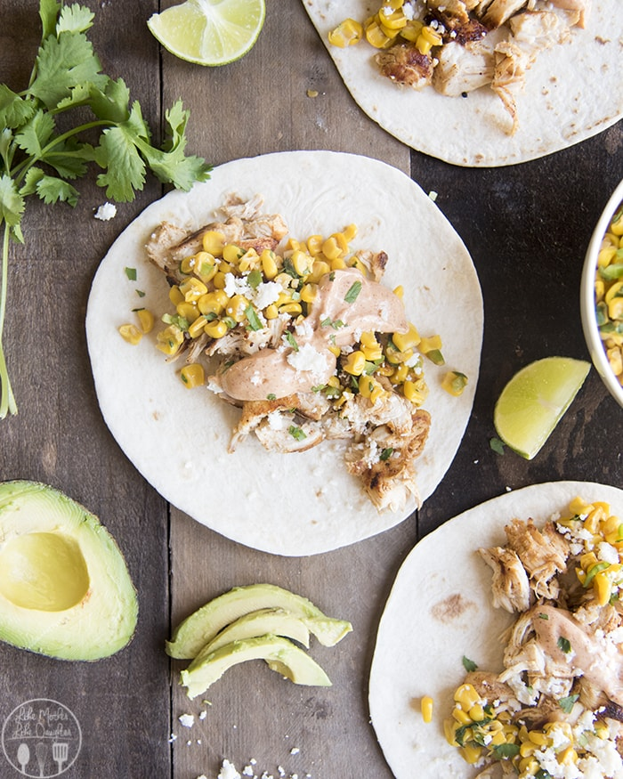 Mexican Corn and Chicken Tacos