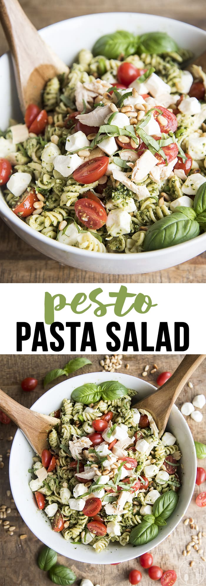 Pesto Pasta Salad is a delicious and fresh summer side dish, full of chicken, tomatoes, mozzarella, and covered in a fresh basil pesto! Perfect for a summer potluck!
