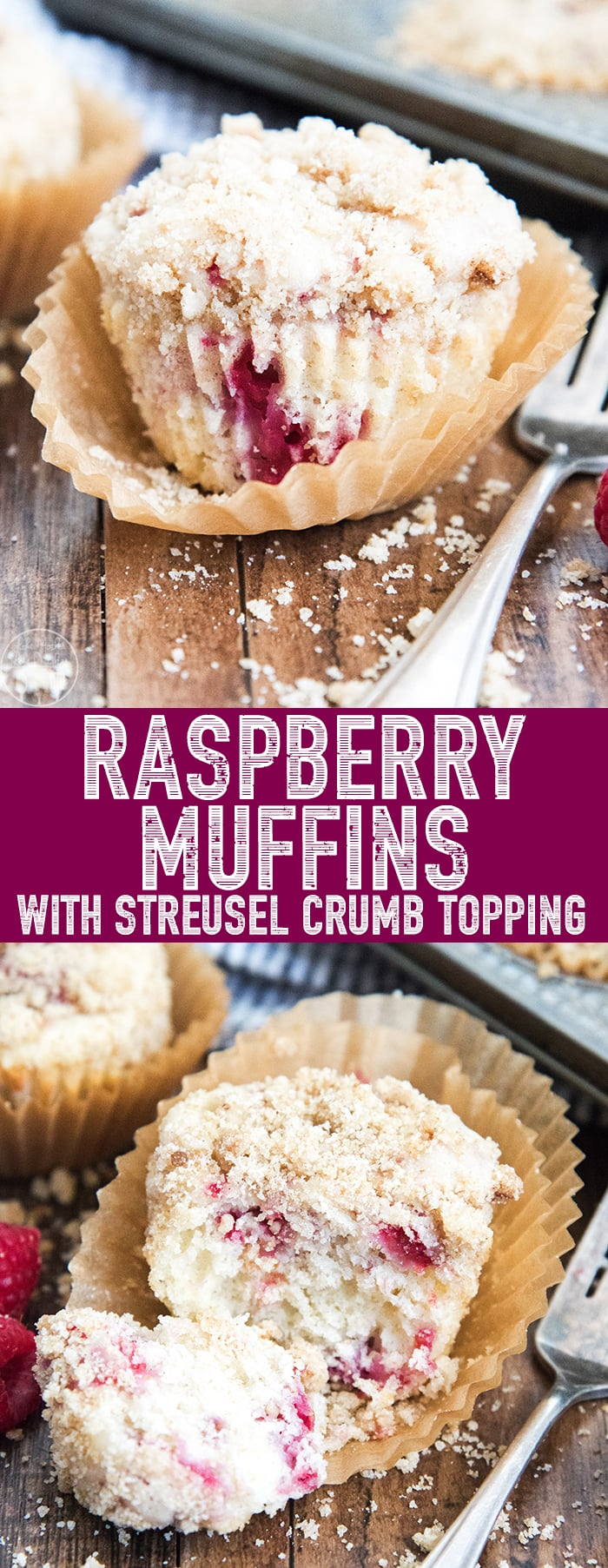 These Raspberry Muffins are sweet, moist, and soft; and are topped with the best sugary crumb topping! Perfect for breakfast, brunch, or a snack!