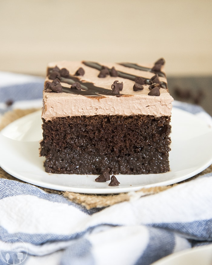 This Death By Chocolate Poke Cake is loaded with chocolate in every bite!
