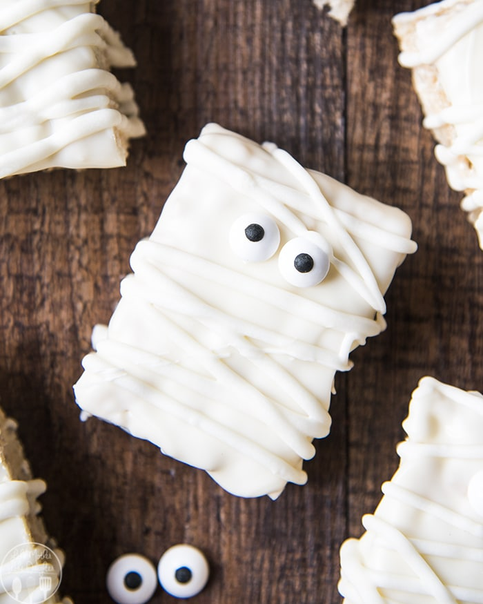 Halloween Mummy Treats made with Rice Krispies