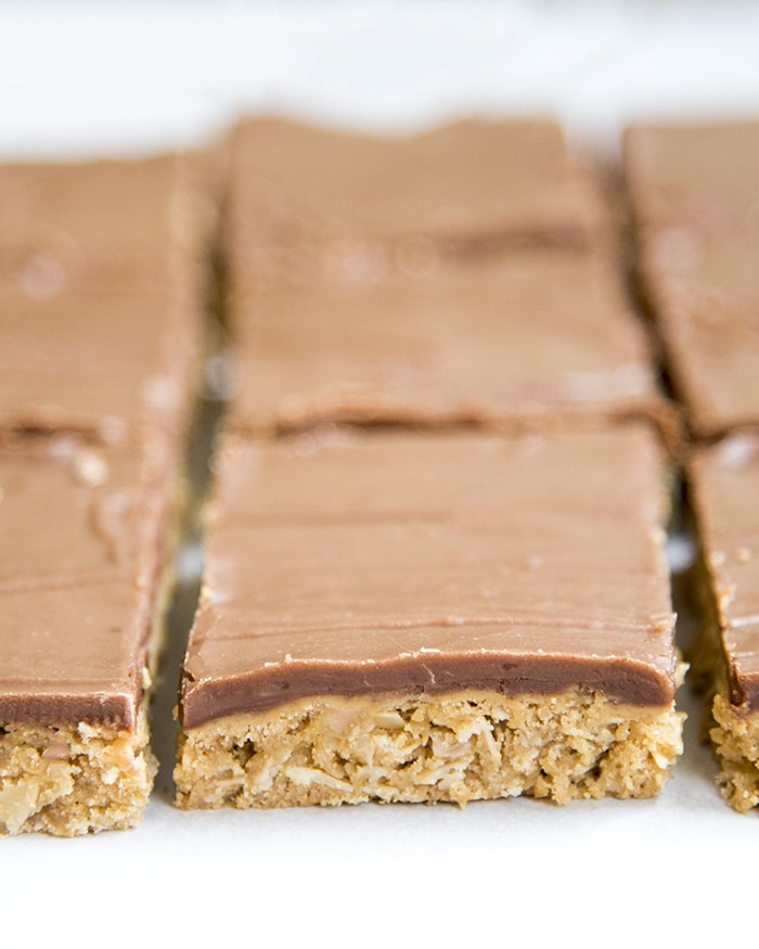 Peanut Butter Oatmeal Bars topped with Chocolate