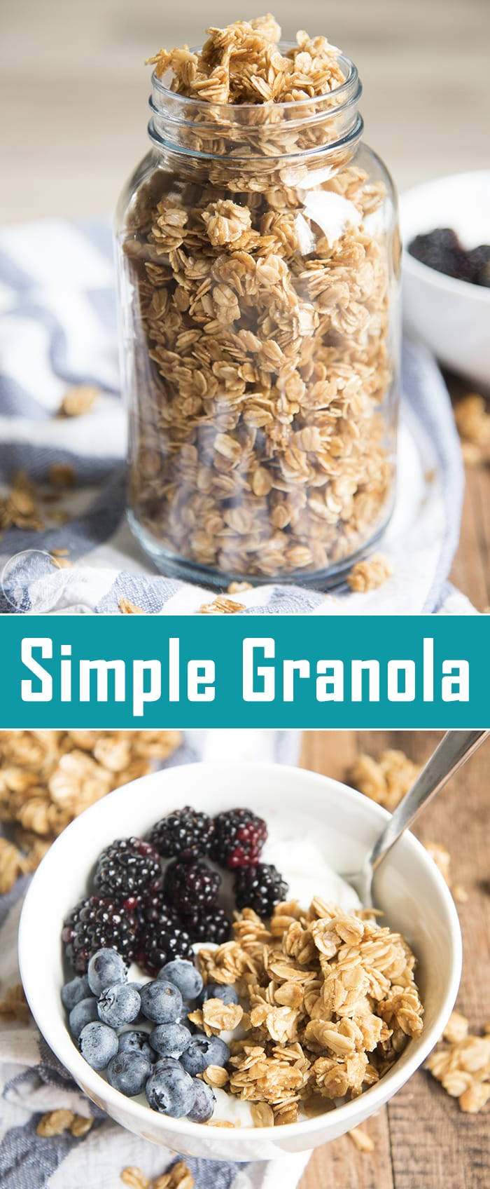 This simple granola recipe is the perfect base recipe for a delicious granola. Great on its own, or with nuts or dried fruit mixed in! Enjoy with yogurt, milk, or plain!