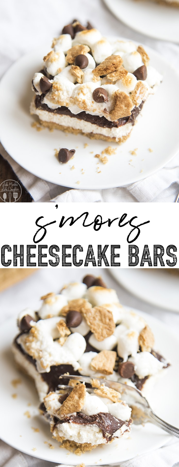 S'mores Cheesecake Bars are delicious no bake cheesecake bars topped with chocolate ganache and toasted marshmallows, for all the great flavors of s'mores in the form of cheesecake!