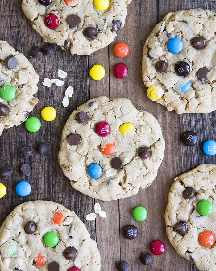 Peanut Butter Oatmeal Cookies with M&Ms and Chocolate Chips
