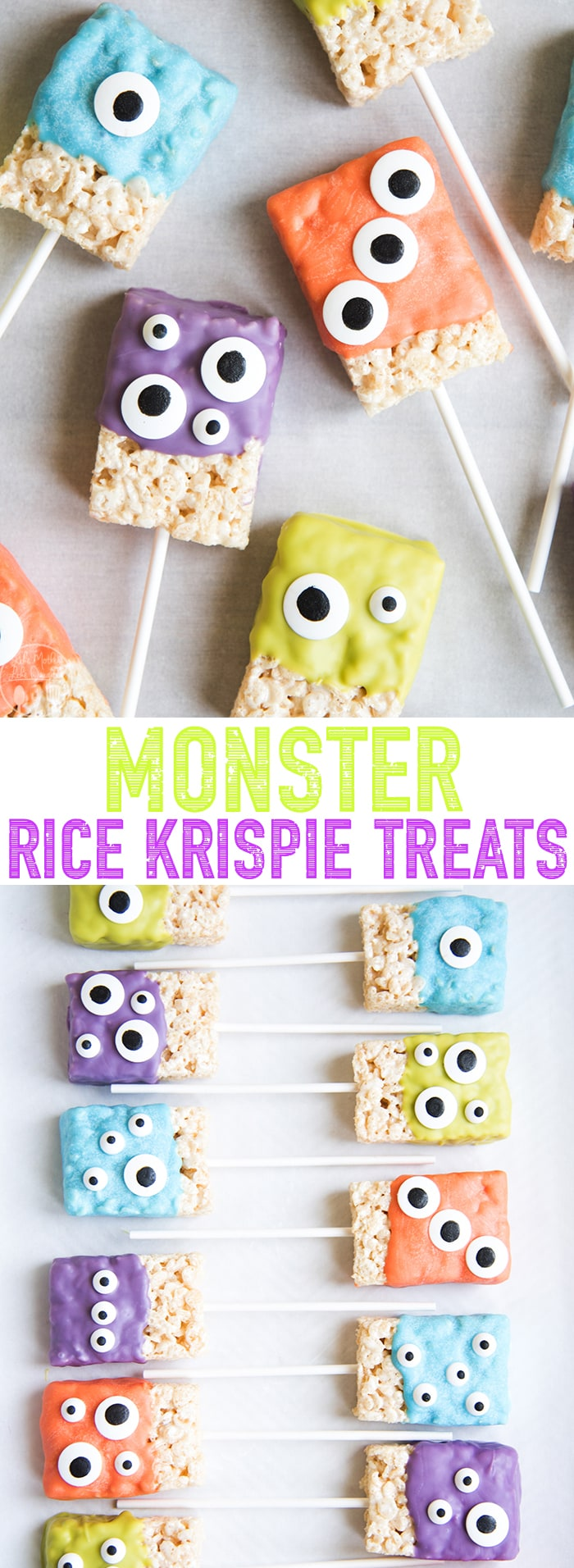 These monster rice krispie treats are the such a cute and festive Halloween treat! Made with only 3 ingredients these Halloween rice krispie treats are so easy to make, and great for kids who love to help in the kitchen!