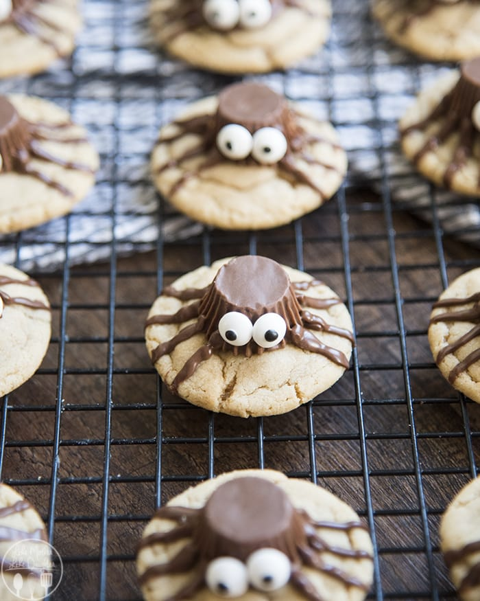 Spider Cookies with a Peanut Butter Cookie topped with Reeses Spiders