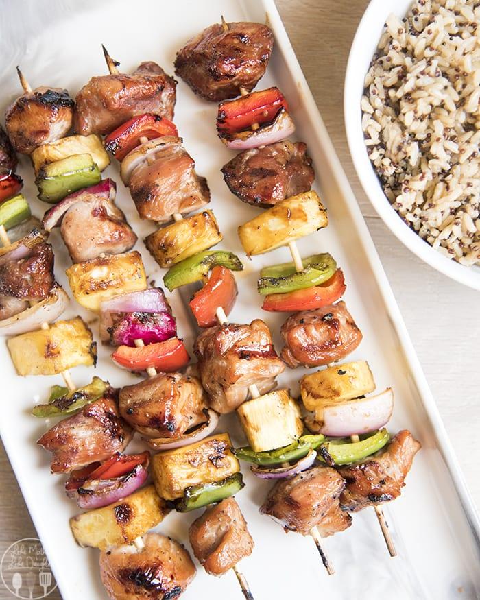 Pork Kabobs covered in a delicious teriyaki marinade