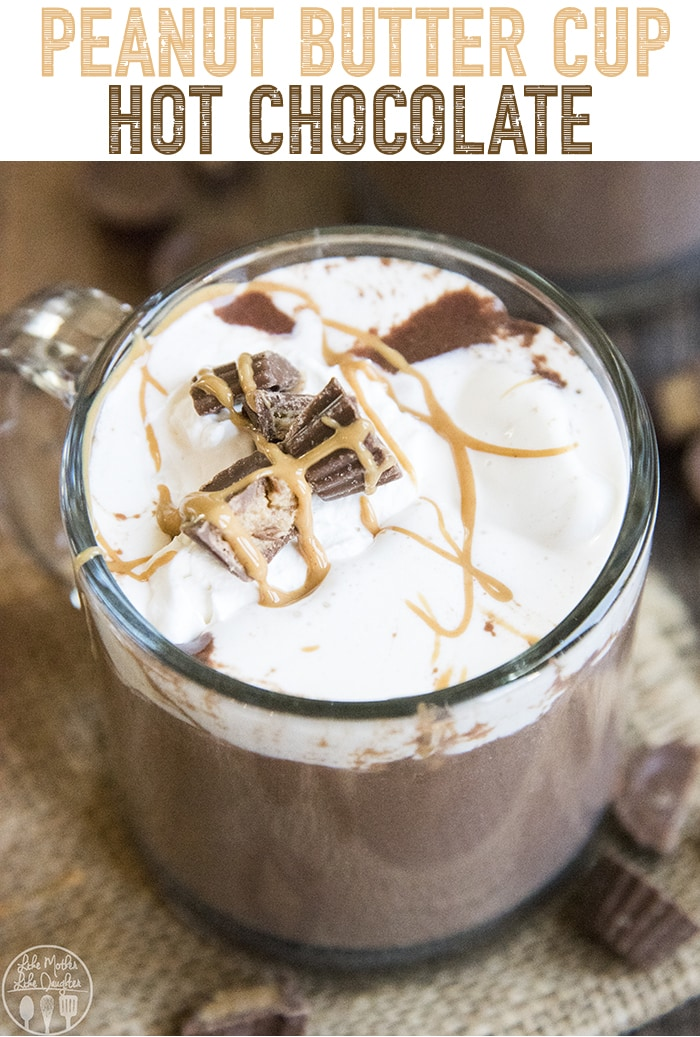 This peanut butter cup hot chocolate is a rich peanut butter and chocolate drink, the perfect cup of hot chocolate for peanut butter cup lovers!