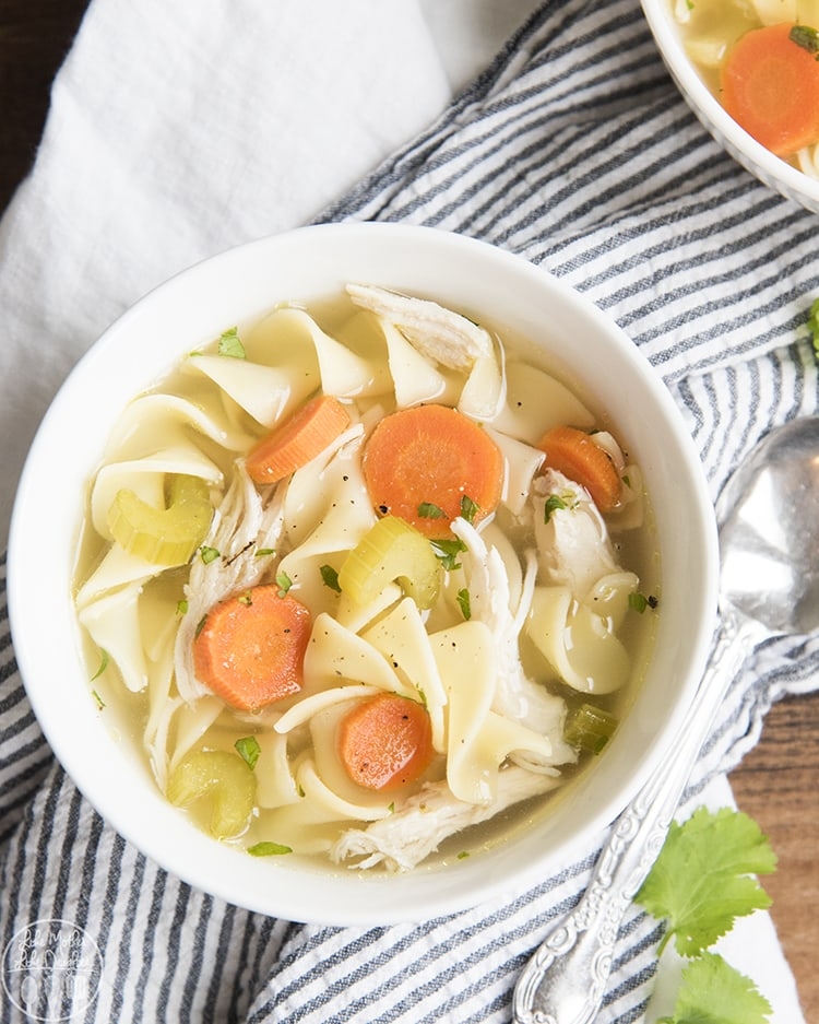 Homemade Chicken noodle soup recipe crock pot - perfect for a cold day.