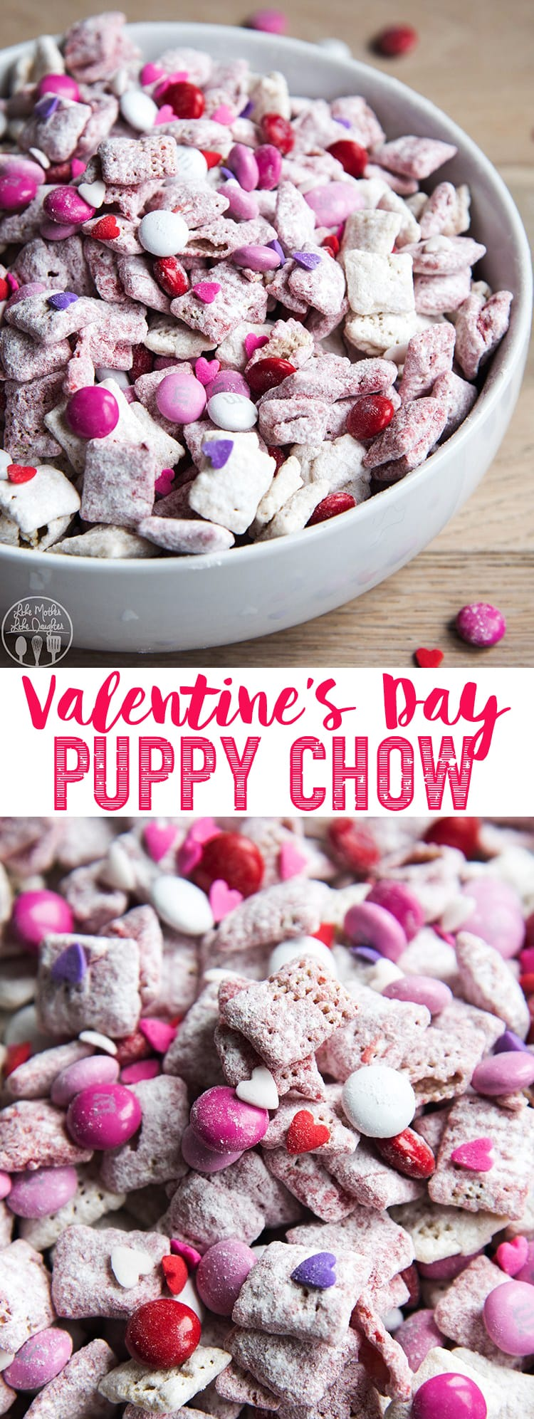 This Valentine Puppy Chow is the perfect Valentine's Day treat with red and white Strawberry muddy buddies scattered with red, pink, and white m&ms, and sprinkles. #ValentinesDay #Valentines #PuppyChow #MuddyBuddies #SnackMix #Valentine