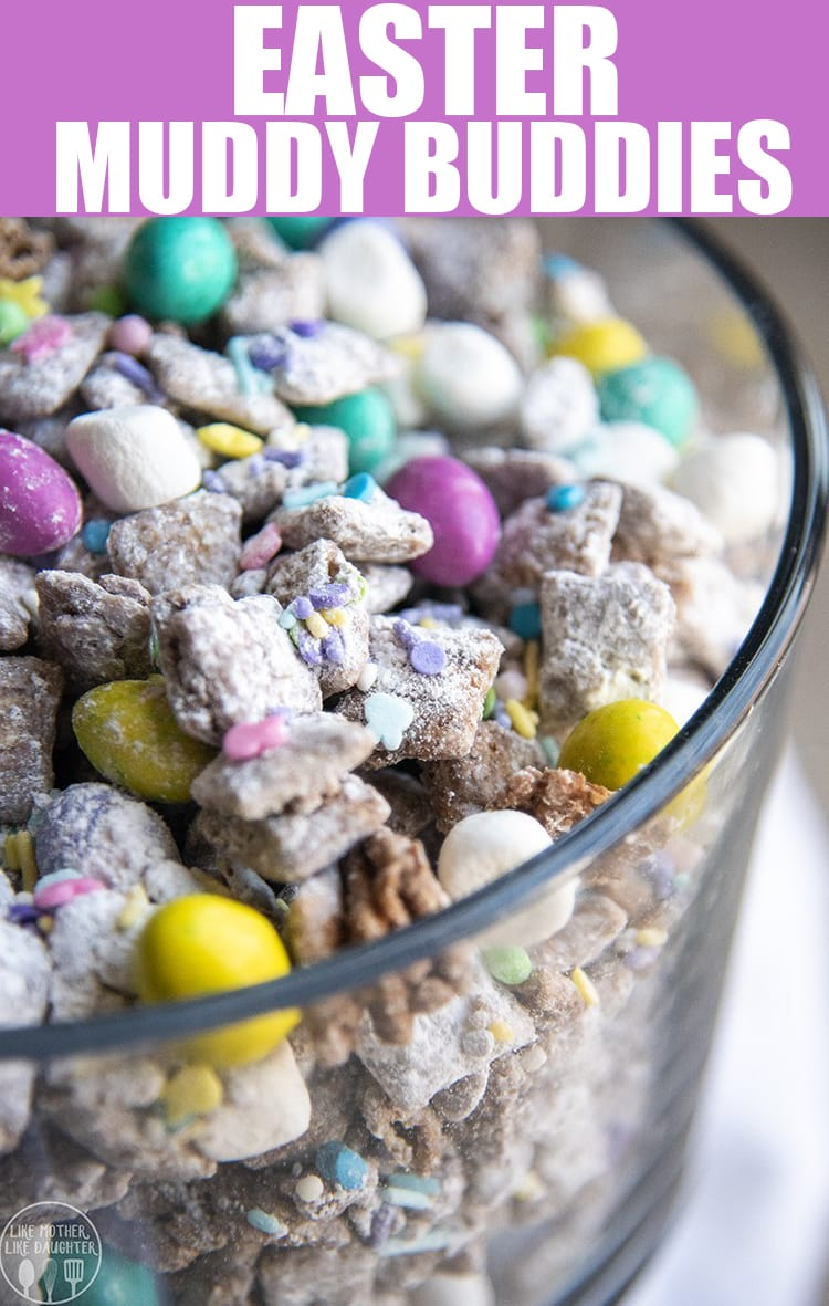These Easter Muddy Buddies are such a fun and tasty Easter treat, with peanut butter chocolate muddy buddies, speckled egg m&ms, marshmallow bunny tails, and spring sprinkles. #Easterrecipes #muddybuddies #puppychow #chocolatepeanutbutter