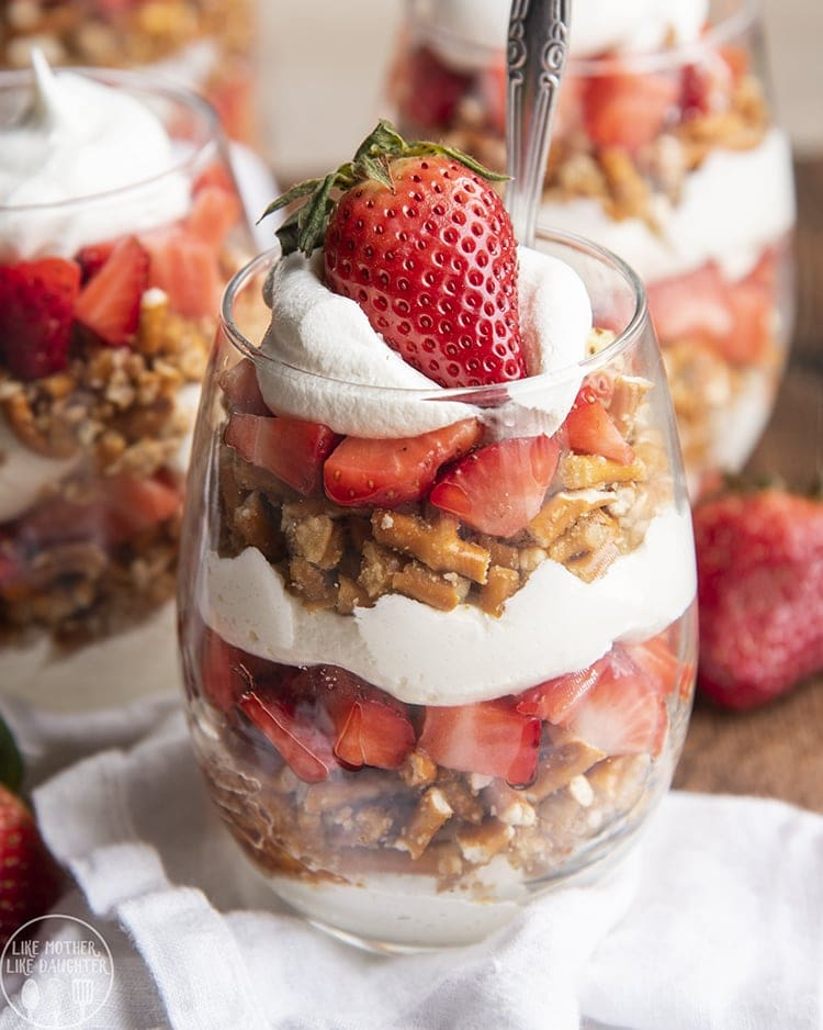 These strawberry pretzel parfaits are the perfect sweet and salty treat, with delicious layers of no bake cheesecake, crunchy salty sweet pretzels, and fresh strawberries.
