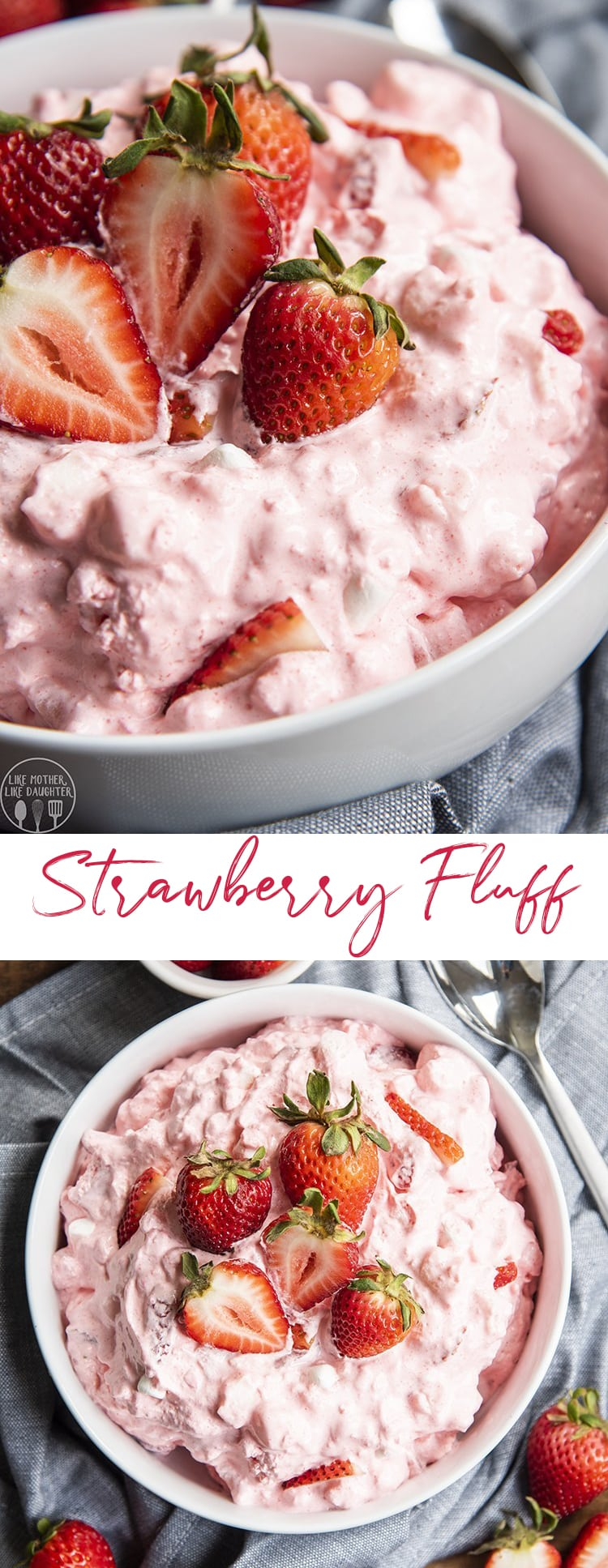 Strawberry fluff is a light and fluffy jello salad made with only five ingredients; it's the perfect spring or summer side dish or dessert! #jellosalad #strawberry #strawberryjello #jellofluff #Easterdinner #5ingredients