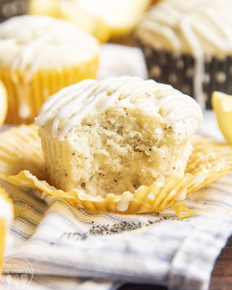 Lemon Poppyseed Muffin topped with a lemon glaze