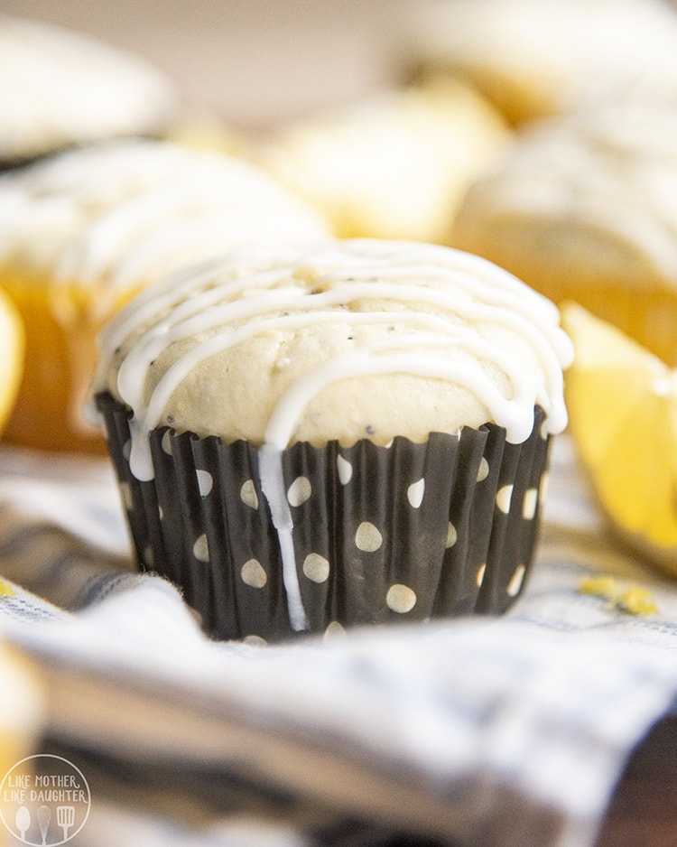 Lemon Poppy Seed Muffin topped with lemon glaze